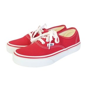 VANS Authentic Skate Shoe Red White Sz 2 Kids